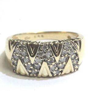 10k-yellow-gold-48ct-SI3-H-womens-wedding-band-diamond-cluster-ring-4-7g-estate