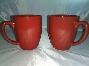 2-Corelle-Coordinates-Stoneware-Coffee-Cup-Mug-Solid-Red