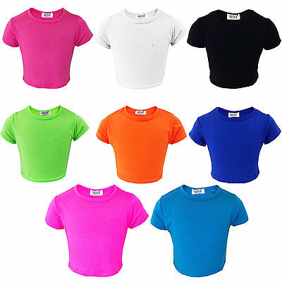 Minx Girls Plain Crop Top Kids Plain T Shirt Fashion Summer Tops for Girls 7 8 9 10 11 12 13 Years