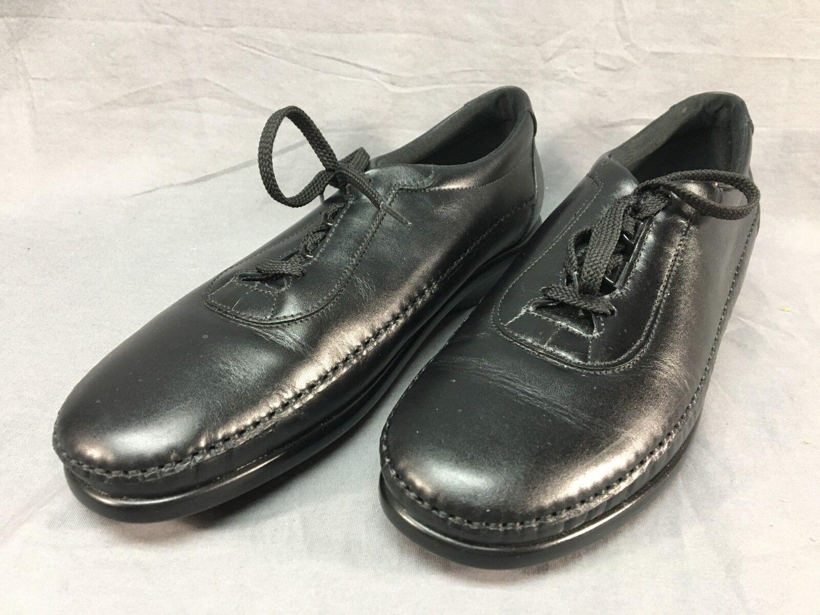 SAS Traveler Women's Black Leather Lace-Up shoes US 7 EUR 37.5 S Slim Width