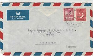 Pakistan 1973 Palace Hotel Karachi to Bremen Airmail Two Stamps Cover Ref 25325