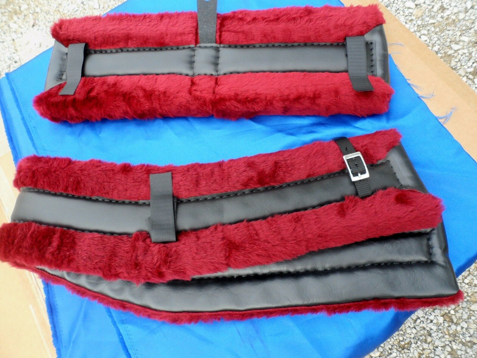 Horse  or Mule Fleece Harness Saddle & Breast Collar Pads Set Amish Made BURGUNDY  all products get up to 34% off