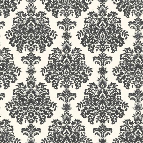 Grandeco Fresco Damask Leaf Pattern Wallpaper Glitter Motif Suede Textured Black