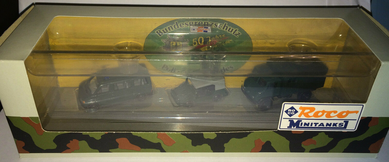 "Roco MINITANKS 668 – Set Unimog S 404, Munga + VW T4 ""BGS "" H0 1 87, neu + OVP"