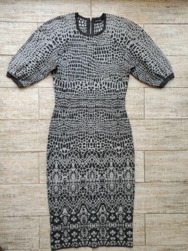 KAREN MILLEN KR043 Grey Animal Print Jacquard Knit