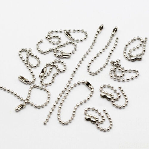 Silver Tone Connector Plated Clasp Steel Ball Beads Tag Keychain Chain Gifts