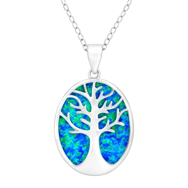 Tree of Love Created Blue Opal Cutout Pendant in Sterling Silver