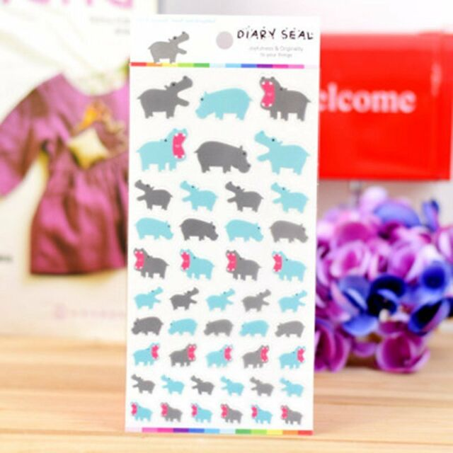 1 x colourful Hippo Novelty Stickers Craft Scrapbook Card  DIY #362