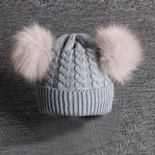 Childrens Baby Knitting Wool Hemming Hat Keep Warm Winter Hiarball Fur Ball Cap