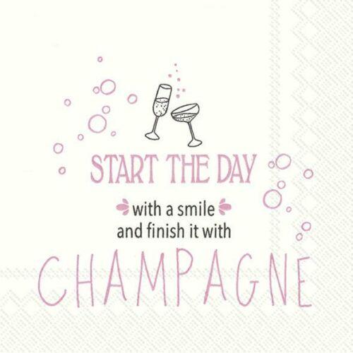 Démarrez la journée avec un sourire Champagne cocktail serviettes pack de 20 25 cm carré 3ply