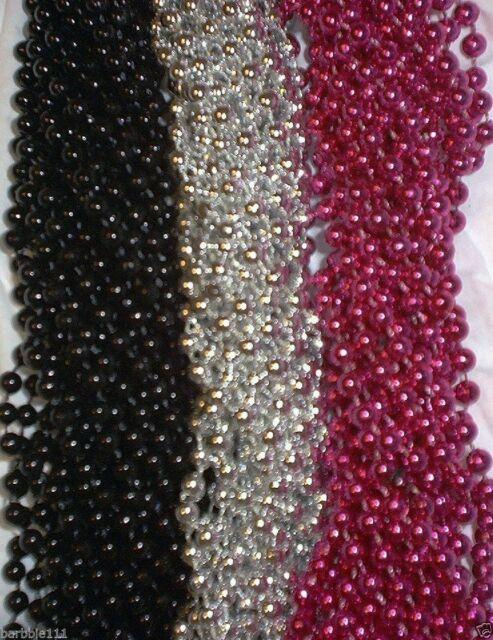 12 Hot Pink Mardi Gras Gra Beads Necklaces Party Favors 1 Dozen Lot