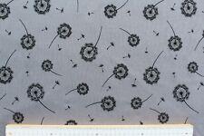 Baumwolle Jersey Stoff, Quality Textiles, Löwenzahn, grau / schwarz, 150 cm