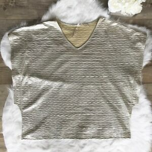Seven-For-All-Mankind-Size-22-24-Women-039-s-Silver-Metallic-Blouse-V-Neck-Tops