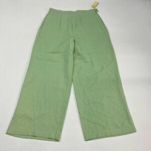 NWT-Tommy-Bahama-Flowy-Pants-Women-039-s-8-Green-Pleated-Front-Casual-100-Silk-110