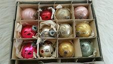 VINTAGE IN SCATOLA 50s vetro/Infrangibili Decorazioni Natalizie Albero Natale/Ninnoli