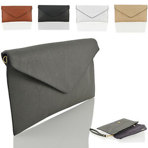 NEW WOMENS CLUTCH HANDBAG LADIES EVENING FAUX LEATHER ENVELOPE PROM PARTY BAG UK