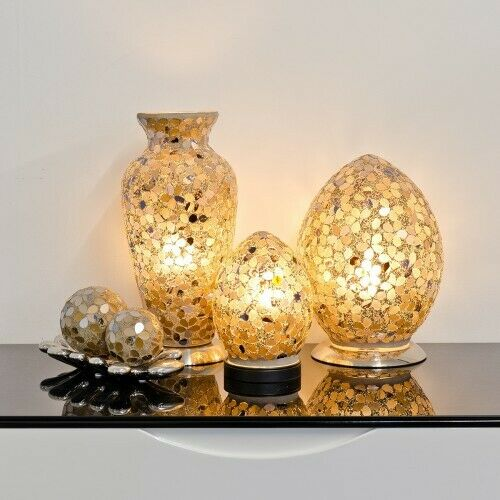 Mini Mosaïque Verre Oeuf Lampe-Autumn Gold Flower