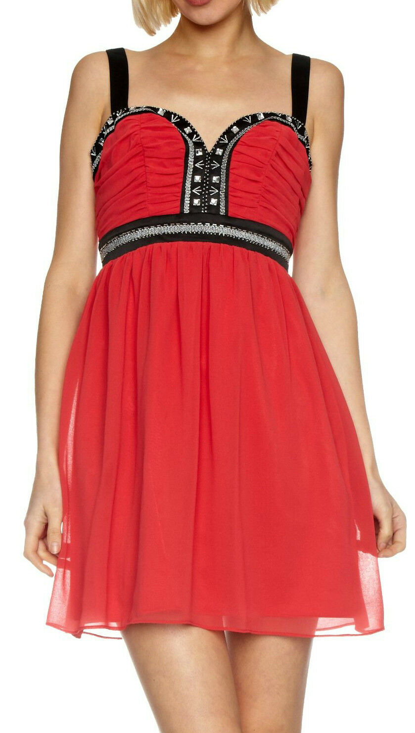 Lipsy Embroidered Embellished Babydoll Christmas Party Dress Cherish Red