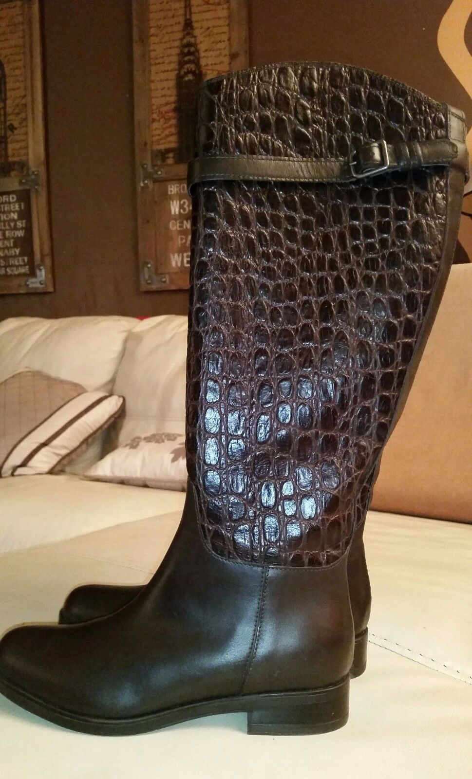 Knee High High High brown crocodile real genuine leather Boots low heel zipper up sz 6 new 80aa51