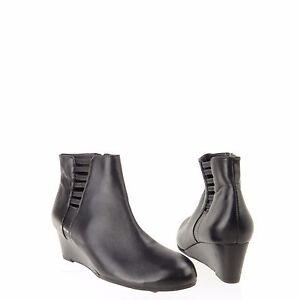 f32c69932e43 Women s Vaneli Laban Shoes Black Nappa Leather Wedge Ankle Boots Sz ...