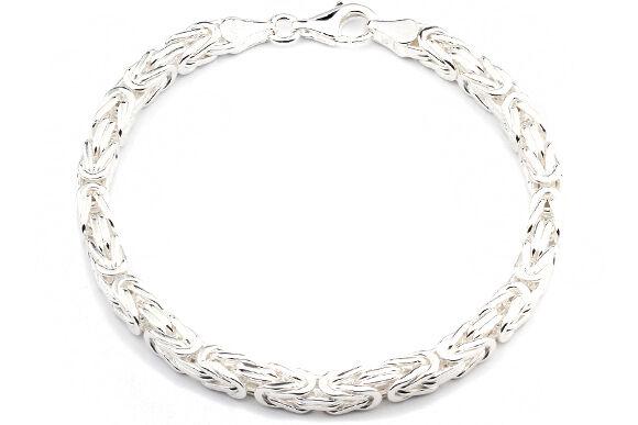 Plattenarmband 6mm Massiv 925 Sterling Silber Armband Silberarmband Herren