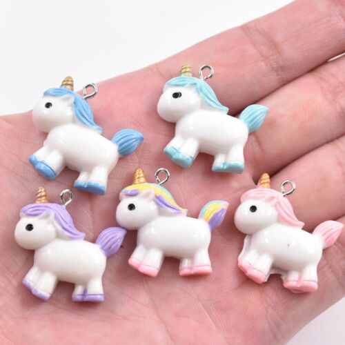 10PC Cartoon Resin Pudgy Unicorn Pony Charm Pendant For DIY Necklace//Keyring