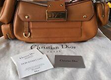 """Christian Dior Vintage Luggage Leather Shoulder Bag 12',14"""", 21/2',6'"""