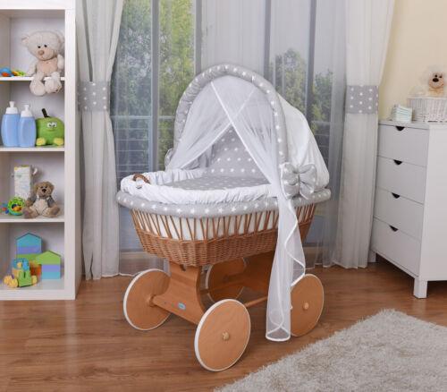WALDIN Baby Bollerwagen,Stubenwagen,komplett mit Zubehör,Stoffe Weiß//Sterne-Weiß