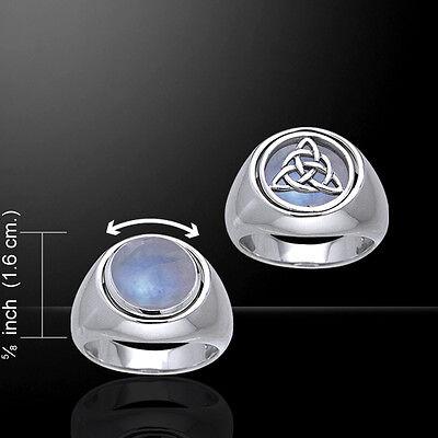Triquetra et cœur argent sterling anneau par Peter Stone Fine Jewelry