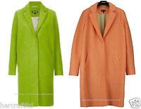 TOPSHOP Womens Ladies Lime or Coral Wool Boyfriend / Cocoon Winter Coat Jacket 8