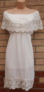 WHITE-FLORAL-CROCHET-LACE-TRIM-BARDOT-RUFFLE-A-LINE-SKATER-SUMMER-DRESS-10-S