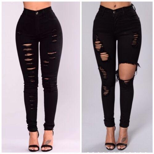 Donna Ragazze vita alta Extreme Ripped Nero Skinny Jeans Taglia 6 a 22