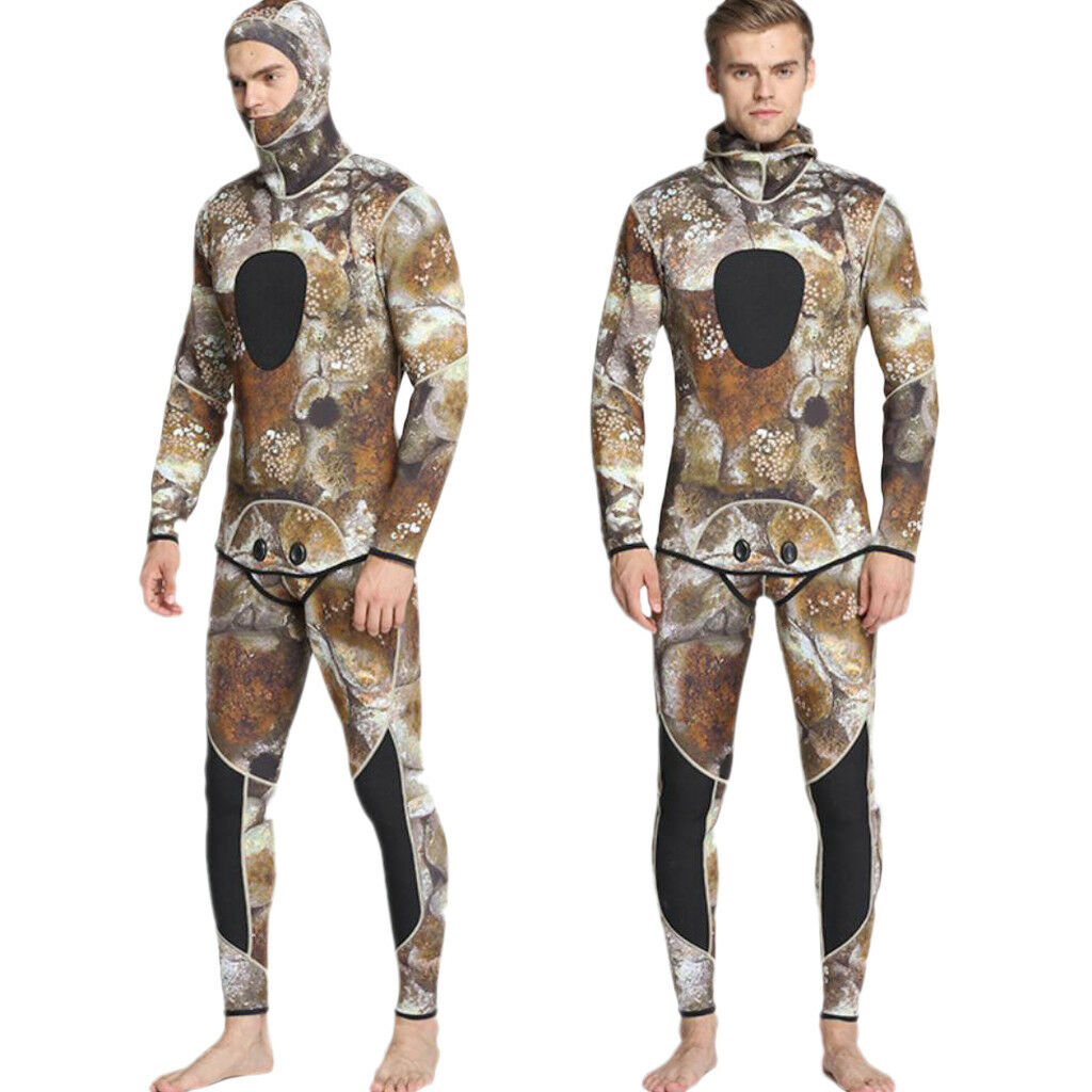 Mens Camouflage 3mm Neoprene Two-Piece Diving Spearfishing Wetsuits Size L