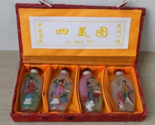 Inside Painting Chinese Four Beauty Glass Snuff Bottle