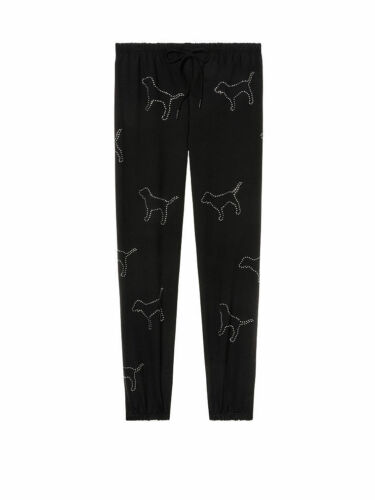 Victoria Secret PINK Black Rhinestone Dog Logo Bling Classic Pant//Sweatpants S