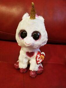 "Ty Beanie Boos - CHERIE the Valentine Unicorn 6"" (2019 Exclusive) NEW MWMT"