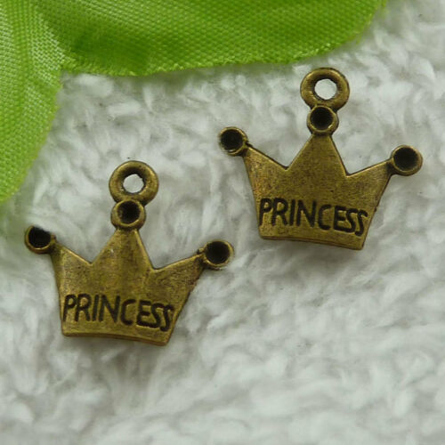 Free ship 280 pieces bronze plated crown charms 18x17mm B3102