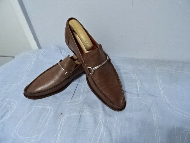 MENS ROBERTO BOTTICELLI MADE IN ITALY BROWN LEATHER SLIM ONS SHOES SIZE