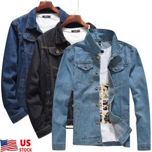 Mens-Denim-Jean-Jacket-Coat-Casual-Long-Sleeve-Loose-Slim-Fit-Outwear-Tops-M-2XL