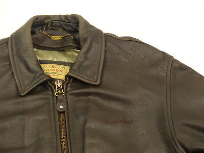 redskins vintage casual lederjacke*braun*b 15*retro*teddy*gr