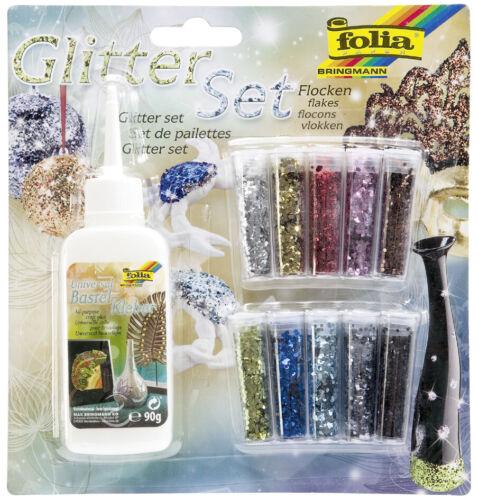 """folia Glitter-Set /""""Flocken/"""" inkl Dekokleber"""