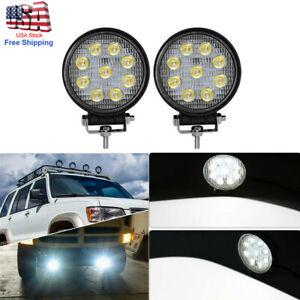 2pcs 4 inch 27W Round Flood LED Work Light Offroad Driving Bull Bar Roof 12V 24V