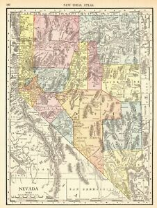 Details about 1914 Antique NEVADA State Map Vintage Map of Nevada Gallery  Wall Art 6426