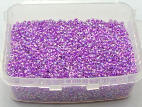 5000 Vidrio Seed Beads 2 Mm Transparente Lustre AB Color Morado Caja de almacenamiento