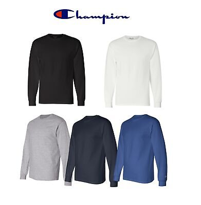 Pick Size /& Color Champion Men/'s 100/% Cotton Tagless Long Sleeve T-Shirt CC8C