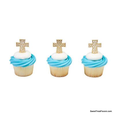 Cross Baptism CupCake Cake Topper 12 18 24 Decoration ...