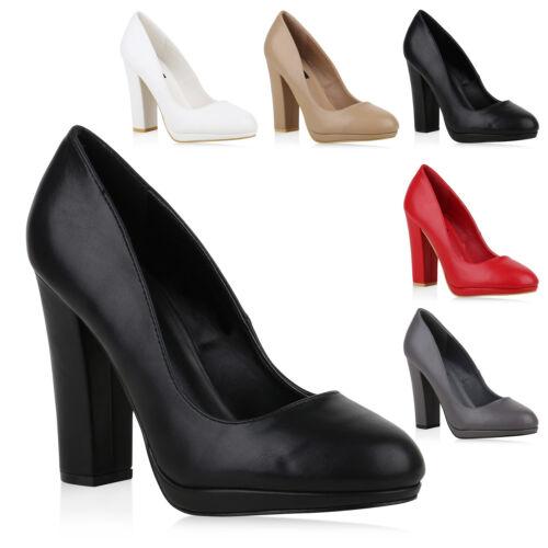 Damen Klassische Pumps High Heels Leder-Optik Basic Schuhe 820350 Trendy Neu
