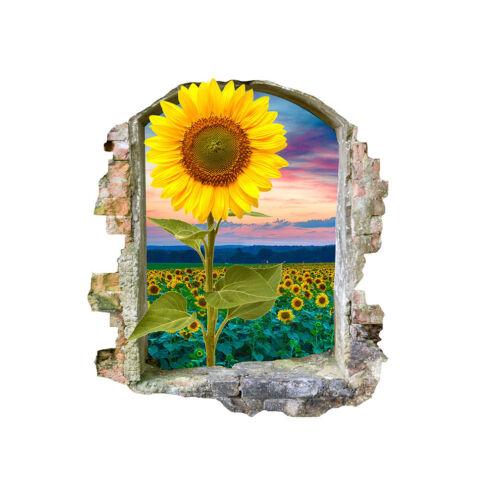 Wall Stickers Sunflower Field Summer Sunset Bedroom Girls Boys Small Kids F203