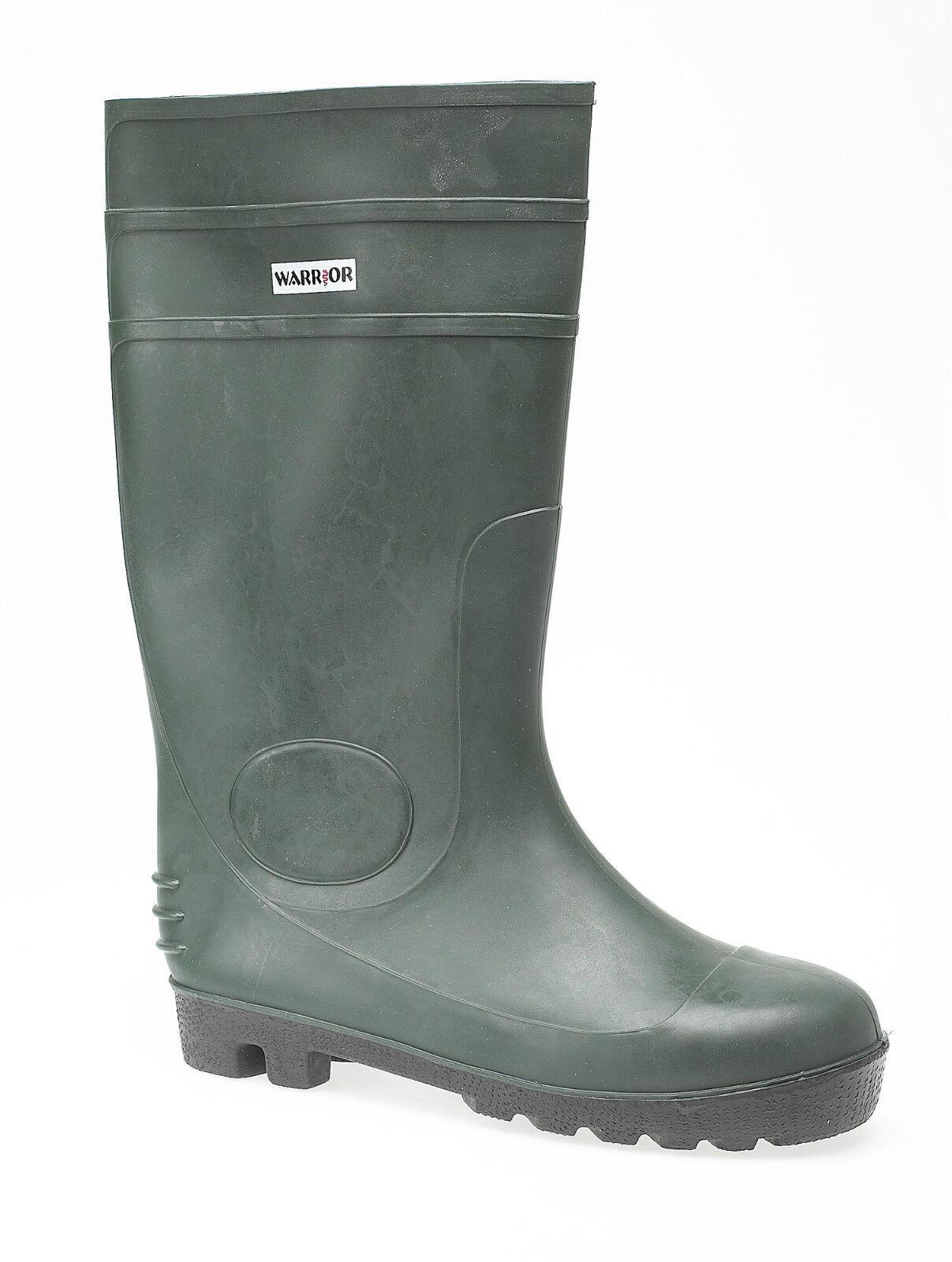 Warrior Green PVC Waterproof Outdoor Wellington Boots Footwear Festival Wellies