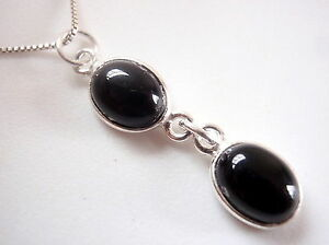 Black-Onyx-Double-Oval-Necklace-925-Sterling-Silver-Imported-from-India-New
